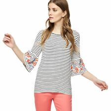The Collection Womens White Striped Floral Embellished Top From Debenhams Size