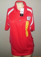 WISCONSIN BADGERS CHAMPION ELITE CARDINAL & WHITE POLO SHIRT / SIZES - S-2XL