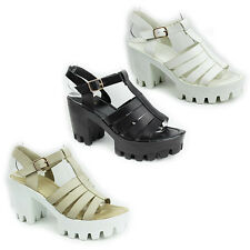 WOMENS LADIES CLEATED PLATFORM CHUNKY HEEL GLADIATOR SANDALS SHOES SIZE 2-7