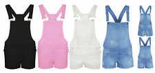 WOMENS LADIES NEW DENIM DUNGAREE SHORTS DRESS GIRLS JUMPSUIT SIZE 8 10 12 14 16