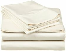 Extra Deep Pocket 1Qty Fitted Sheet Only 100% Cotton 1000 TC Ivory  Solid