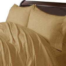 1000TC SOFT EGYPTIAN COTTON ALL HOME BED LINENS UK SIZES TAUPE STRIPED