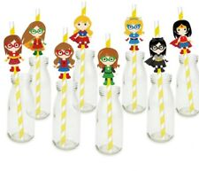 SUPER GIRLS HERO PARTY STRAWS BIRTHDAY PARTY DECORATIONS TABLE FAVOURS