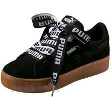 Puma Vikky Platform Ribbon Bold 365314 01 Womens Shoes Black Suede Sneakers