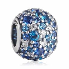 authentic 925 sterling silver Mixed Pave CZ Blue Charm with clear cz charm bead