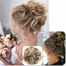 Natural Curly Hair Extension Hairpiece Bun Updo Scrunchie Pony Tail As Human US