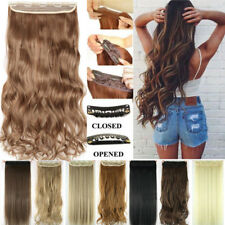 US 3/4Full Head Clip In Hair Extensions Straight Wavy With 5 Clips Long As Human