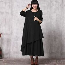 Women Vintage Style Long Sleeve O Neck Loose Oversize Ruffle Maxi Dress