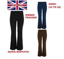 Ladies Womens Ribbed Trousers Bootleg Elasticated Pants Bootcut Stretch 10-22