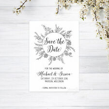 SAVE THE DATE CARDS PERSONALISED INVITATIONS MAGNETS WEDDING RECYCLED WHITE