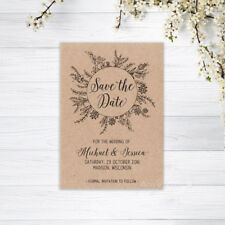 SAVE THE DATE CARDS PERSONALISED INVITATIONS MAGNETS WEDDING RECYCLED KRAFT