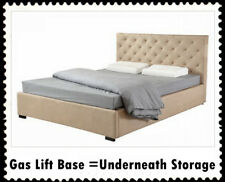 New Double/Queen Linen Upholstered Bed Frame & Button Tufted Bed Head