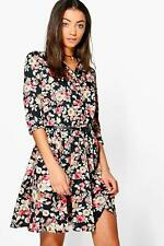 NEW Boohoo Womens Tall Raya Floral Shirt Dress in Polyester
