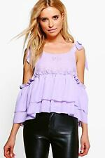 NEW Boohoo Womens Julia Tie Shoulder Lace Cold Shoulder Top in Polyester