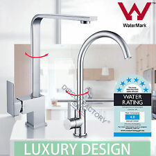 Chrome Square Round Basin Sink Kitchen Laundry Faucet Swivel Mixer Tap Silver