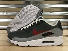 Nike Air Max 90 Ultra Essential Running Shoes Wolf Grey Gym Red SZ (819474-006)