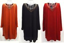 Winter TUNIC Plus Size 18 to 24 Long Sleeve Top BEAD Embellished V-Neck DRESS BN
