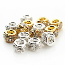 20Pcs Silver Gold Crystal Spacer Beads For European Bracelet Bangle Chain