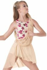 Dance Costume Large Child Gold Cream Pink Lyrical Greek TRIO Competition Pageant