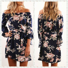 UK Womens Loose Cosy Party 2018 Spring Pullover Casual Chiffon Floral Mini Dress