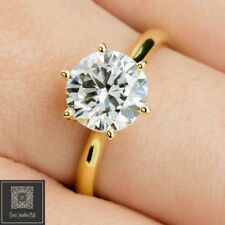 9ct Real Solid Yellow Gold 2.0ct Solitaire lab Diamond Engagement Wedding Ring