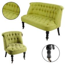 Contemporary Single & Double Seater Sofa Tub Chair Tufted Back Buttons Green