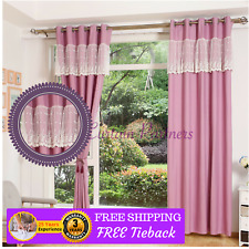 Purple Valance Design Lace Velvet Bedroom Fabric Curtain Drapes Sheer Eyelet Rod