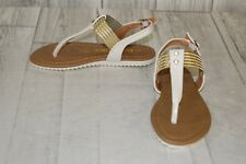 +Kensie Girl's Thong Sandal with Stones - Choose Your Size! White/Gold
