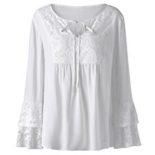 Women's Plus Size Loose Tops Blouse Flare Sleeve Lace-up V Neck Tunic T-Shirt