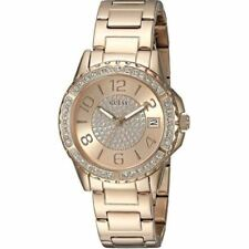 """Guess """"U0779L3"""" Crystal Accented Rose Gold-Tone Stainless Steel Bracelet Watch"""