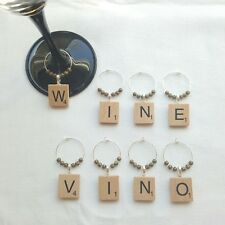 8 x Hand Made Scrabble Wooden Letter Wine Glass Charms! Free UK Shipping!