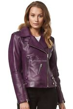 Ladies Leather Jacket Purple WASHED Motorcycle Biker Style 100% REAL NAPA 5816