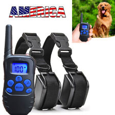 2 in 1 Electric Shock Anti Bark Collar Dog Train Collar With LCD Remote US STOCK