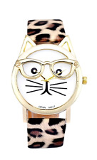 Cat Face Watch Quartz Women Leather Wristwatch Wrist Leopard Analog Girls Pick 1