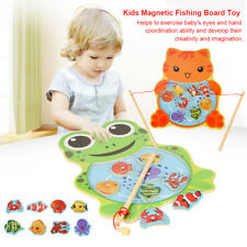 Magnetic Fishing Game Jigsaw Puzzle Board Children Kids Educational Wooden Toys