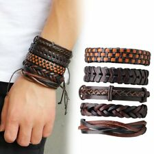 Mens Multilayer Leather Braided Rope Handmade Cuff Bracelet Adjustable PU new BS