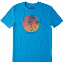 Life is Good. Mens Cool Tee: Simplify Palms - Marina Blue