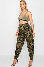 NEW Boohoo Womens Plus Annie Camo Cargo Jean in Cotton 5% Polyester