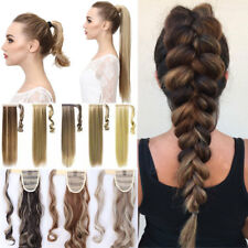 Real Thick Clip In Hair Extension Pony Tail Wrap Around Ponytail Long as humans