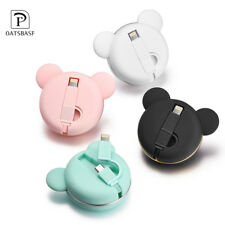 Bear Retractable Micro USB Lightning Sync Charger Data Cable for Android Iphone