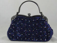 Blue Fully Beaded Sequined Crystal Evening Party Purse Or Casual 5 Colors