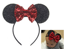 Girl Kid Lady Children Red Bow Sequin Minnie mouse Party Ear Hair Band Headband