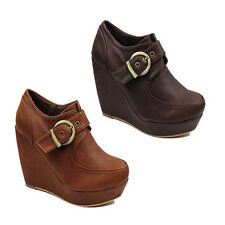WOMENS HIGH WEDGE HEEL PLATFORM LOW ANKLE BOOTS BOOTIES LADIES SHOES SIZE 2-7