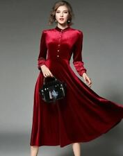 Women Long Sleeve Stand Collar Velvet Material Party Wear Black Red Color Dress