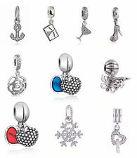 Genuine 925 sterling silver Dangle Charms Clear CZ Pendant Charm European Beads