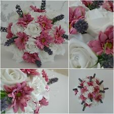 Deep Dusty pink wedding bridal bouquet buttonholes corsage groom bridesmaid (E)