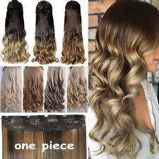 US Real as human 3/4 Full Head Clip In Hair Extensions Curly Wavy Straight Hair