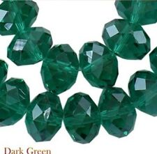 Dark Green 8mm Faceted Crystal Glass Beads Pearl Luster Rondelle LUSCIOUS SPARKL