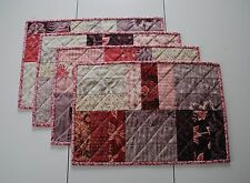 Handmade Quilted Placemats & Table Runner w/Rose & Tan Tones