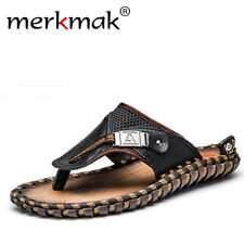Merkmak Luxury Brand 2018 New Men's Flip Flops Genuine Leather Slippers Summer